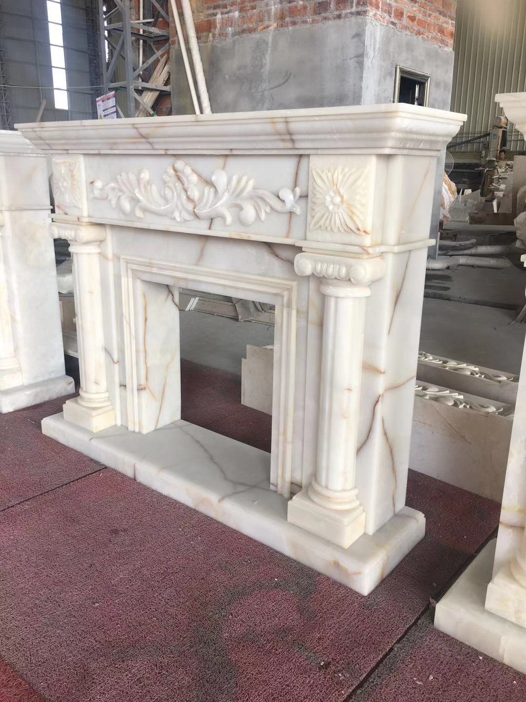 Cultured Marble Fireplace Surround Granite Slab For