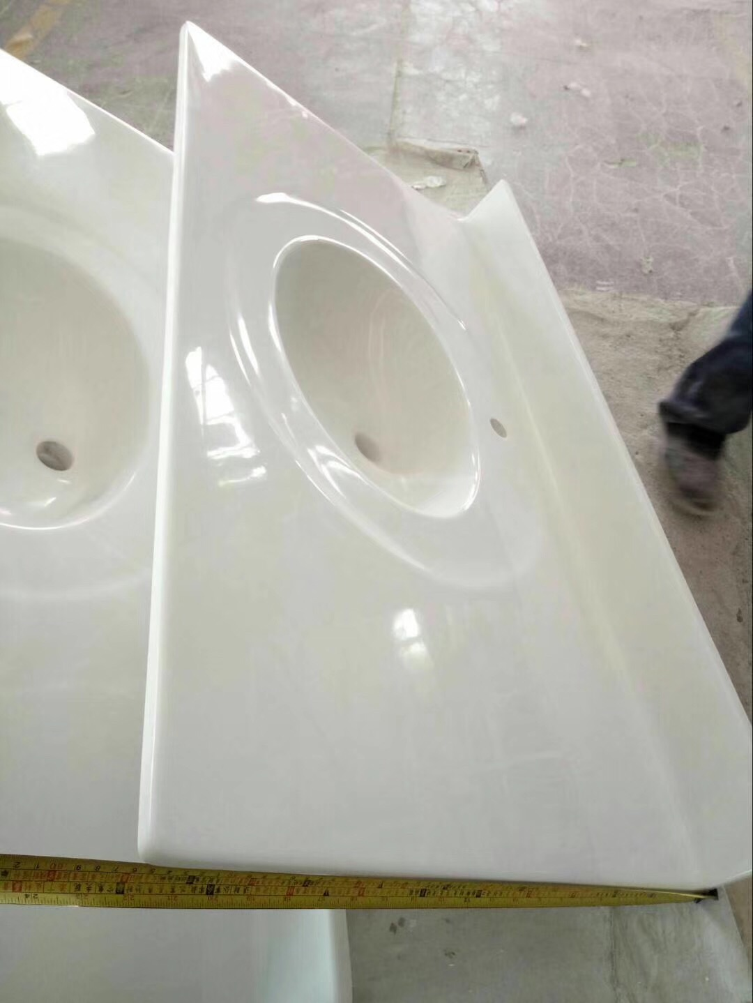 Solid white cultured marble vanity top,marble double sink