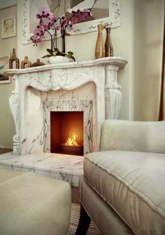 The marble fireplace is so stylish!