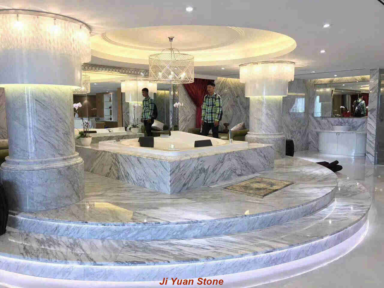 Analysis of the advantages and disadvantages of white marble tiles staircase stairs