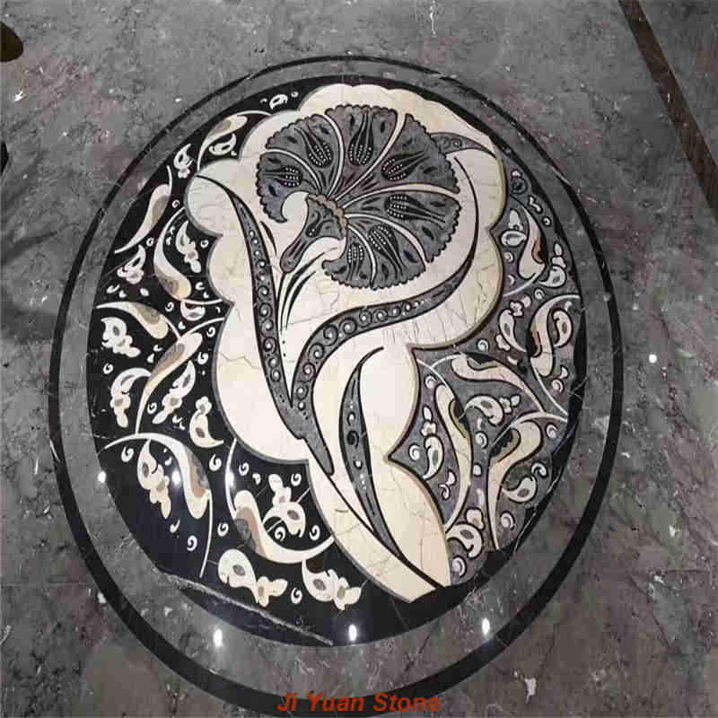 Natural floor medallions paving does not require the use of polished stone